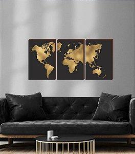 Quadros Trio Mapa Mundi preto e dourado [BOX DE MADEIRA]