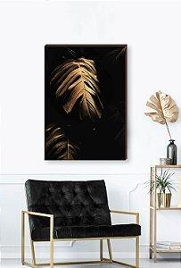 Quadro decorativo Costela de Adão dourada - Fundo preto Mod.02  [BoxMadeira]