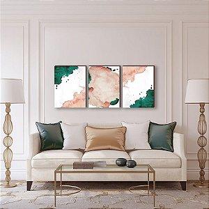 Quadros Trio Abstrato aquarela Rosa e Verde [BOX DE MADEIRA]