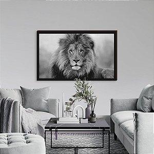 Quadro decorativo Leão preto e branco horizontal - borda preta [Box de Madeira]