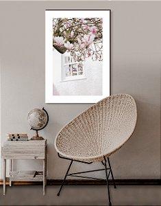 Quadro decorativo Janela Romântica com flores [BoxMadeira]