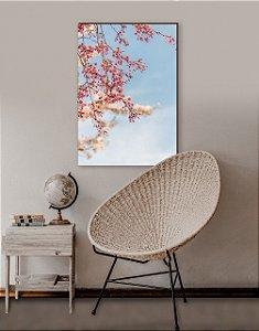 Quadro decorativo Árvore cerejeira Rosa e Céu Azul  [BoxMadeira]