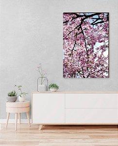 Quadro decorativo Árvore cerejeira Rosa e Galhos Escuros  [BoxMadeira]