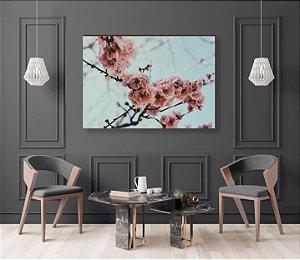 Quadro decorativo Árvore cerejeira Rosa Galhos Floridos [BoxMadeira]