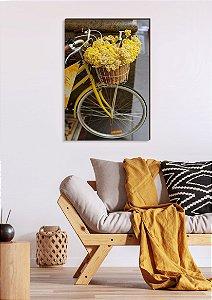 Quadro decorativo Bicicleta e Flores Amarelas [BoxMadeira]