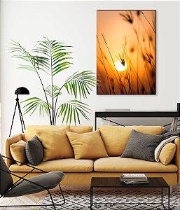 Quadro decorativo Pôr do Sol com ramos de trigo [BoxMadeira]