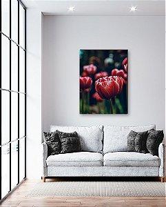 Quadro decorativo Tulipa vermelha - Jardim de Tulipas [BoxMadeira]