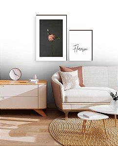 Dupla de quadros Flor Rosa + Floresça [boxdemadeira]