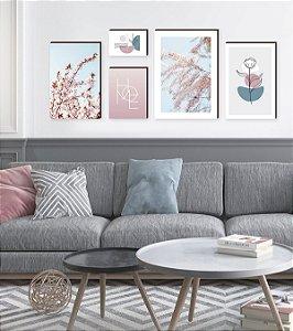 Kit de quadros decorativos Home Primavera Rosa e Azul [Box de Madeira]