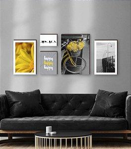 Kit de quadros decorativos Happy Primavera Amarelo [Box de Madeira]