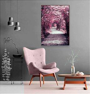 Quadro decorativo Caminho de árvores - cerejeira rosa [BoxMadeira]