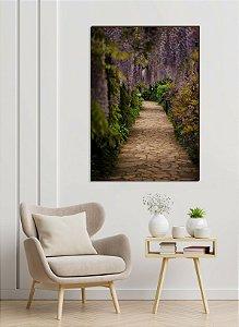 Quadro decorativo Caminho de pedras e árvore lilás [BoxMadeira]