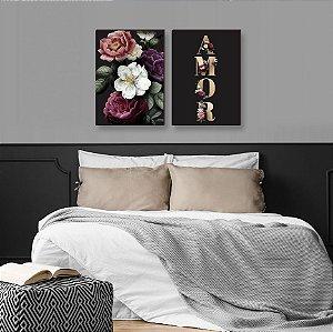 Dupla de quadros Flores e Amor [boxdemadeira]