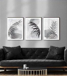Quadros Trio Folhas Aquarela preto e branco  [BOX DE MADEIRA]