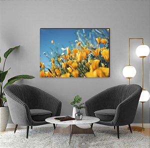 Quadro decorativo Flores Amarelas e céu azul [BoxMadeira]