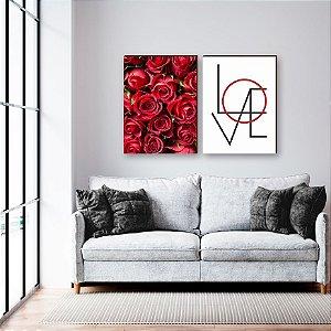 Dupla de quadros Rosa + Love [boxdemadeira]