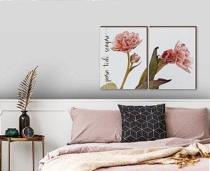 Quadro decorativo Flores + Para todo sempre [BoxMadeira]
