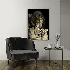 Quadro decorativo Leão Família - Com 1 filhote [BoxMadeira]