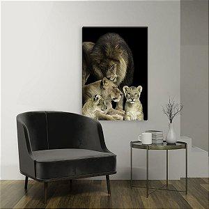 Quadro decorativo Leão Família - Com 2 filhotes [BoxMadeira]