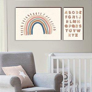 Dupla de quadros Arco Iris + Alfabeto [boxdemadeira]