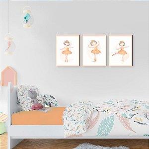Quadros Trio Bailarinas - Amarelo [BOX DE MADEIRA]