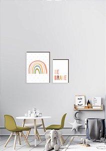 Dupla de quadros Arco íris + Be brave [boxdemadeira]