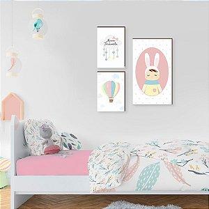 Trio de quadros Nuvem com nome + boneca metoo + balão [boxdemadeira]