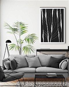 Quadro decorativo Abstrato preto e branco [Box de Madeira]