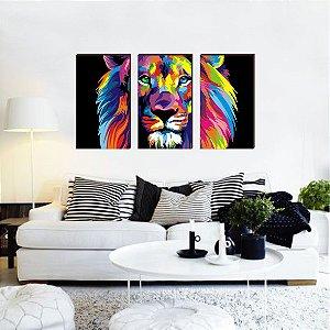 Trio Leão Colorido [BoxMadeira]