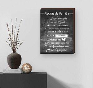 Quadro Decorativo Regras da Família fundo Preto [BoxMadeira]