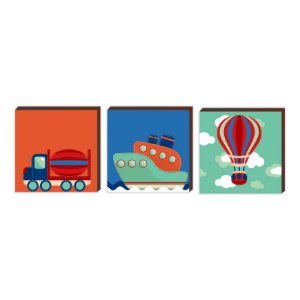 Trio Caminhão + Navio + Balão [BoxMadeira]