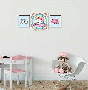 Trio de quadros infantil Unicórnio [BoxMadeira]