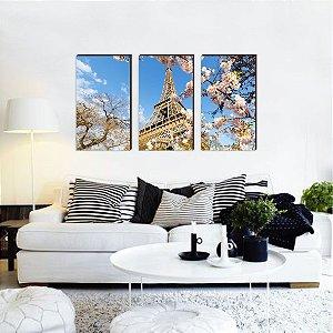 Trio de quadros Paisagem Torre Eiffel Florida [BoxMadeira]