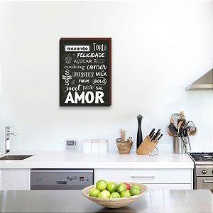 Quadro decorativo para cozinha Macarrão, torta e felicidade ... [BoxMadeira]