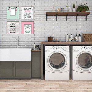Kit lavanderia Roupa Suja se lava em casa [Box de Madeira]
