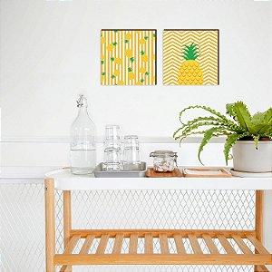 Quadro Duplinha de abacaxis cozinha Amarelo [Box de madeira]
