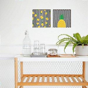 Quadro Duplinha de abacaxis cozinha Preto [Box de madeira]
