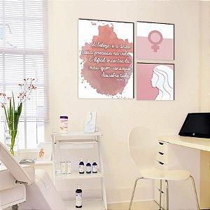 Quadro Trio Beleza Rosa [Box de Madeira]