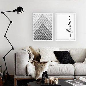 Quadro Dupla Love Geometrico Vertical [Moldura e Vidro]