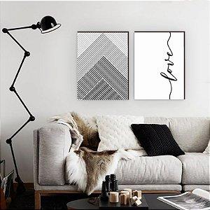Quadro Dupla Love Geometrico Vertical [BOX DE MADEIRA]