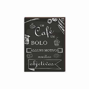Quadro para cozinha Um Café um bolo PRETO [BOX DE MADEIRA]