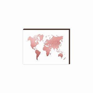 Quadro mapa Rosê Gold [BOX DE MADEIRA]