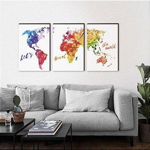 Quadros Trio Mapa Mundi colorido [BOX DE MADEIRA]