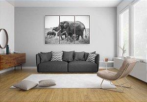 Quadros Manada de Elefantes África [BOX DE MADEIRA]