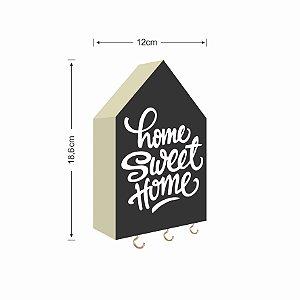 PORTA CHAVES CASINHA HOME SWEET HOME FUNDO PRETO