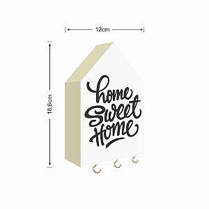 PORTA CHAVES CASINHA HOME SWEET HOME FUNDO BRANCO