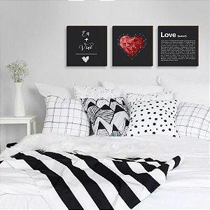 Trio de Quadros Decorativos Eu+Você+Amor PRETO [box de madeira]