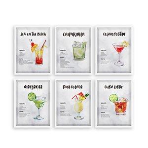 Kit de Quadros decorativos Receitas de Drinks Branco [Moldura e vidro]
