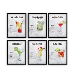 Kit de Quadros decorativos Receitas de Drinks Moldura Preta [Moldura e vidro]