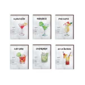 Kit de Quadros decorativos Receitas de Drinks  [box de madeira]